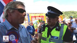 Police Officer sting people are not allowed to fly a Union Jack at the Durham Miners' Gala