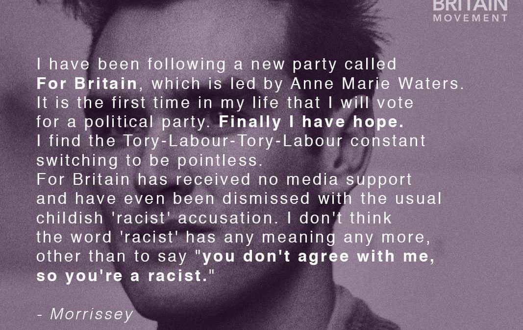 Morrissey Endorses For Britain Lewisham East Candidate